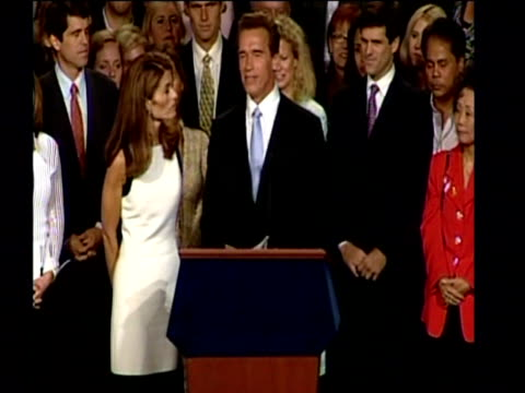arnold schwarzenegger pays tribute to his wife during a speech at a rally after becoming the new governor of california october 2003 - arnold schwarzenegger stock-videos und b-roll-filmmaterial