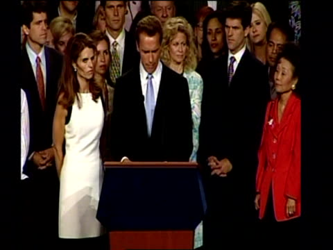 arnold schwarzenegger sets out his goals in his victory speech after becoming the new governor of california october 03 - arnold schwarzenegger stock-videos und b-roll-filmmaterial