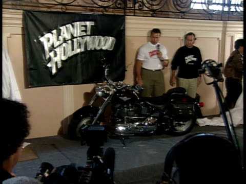 arnold schwarzenegger unveils the new terminator 2 motorcycle for the press. - arnold schwarzenegger stock videos & royalty-free footage