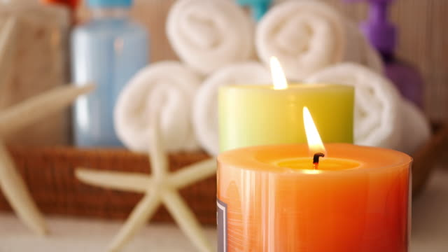 aromatherapy candles for relaxation - scented stock videos & royalty-free footage