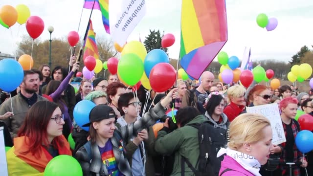 Around 100 people demonstrate in the center of St Petersburg Russia's second largest city to support homosexuals in Chechnya a conservative Russian...