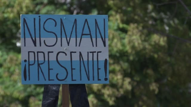 around 100 people gathered in buenos aires on wednesday for the two month anniversary of prosecutor alberto nismans mysterious death - prosecutor stock videos & royalty-free footage