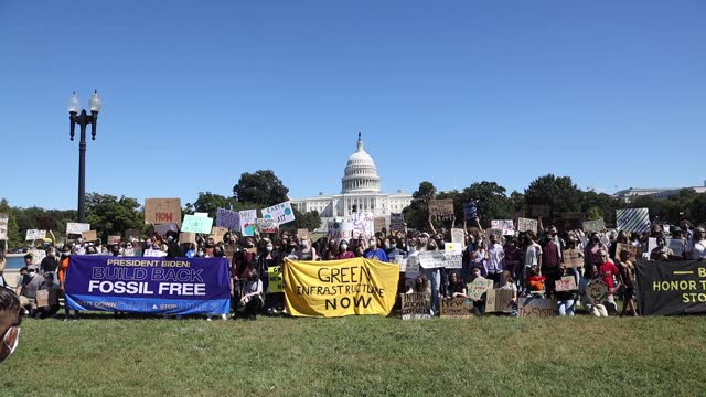 around 100 youth demonstrators gather near the u.s. capitol on september 24, 2021 as part of a global day of strikes organized by several groups to... - climate stock videos & royalty-free footage
