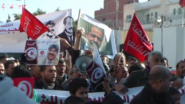 around 1,000 unionists and left-wing opposition activists gathered in sidi bouzid, the impoverished central tunisian town where mohammed bouazizi... - tunisia stock videos & royalty-free footage