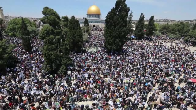 around 180,000 people pray at the al-aqsa mosque compound in east jerusalem on the first friday of the holy islamic month of ramadan - jerusalem stock videos & royalty-free footage