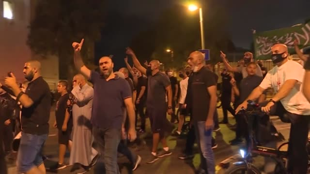 around 200 people protest outside the residence of france's ambassador to israel in the largely-arab district of jaffa in tel aviv after french... - jaffa stock videos & royalty-free footage