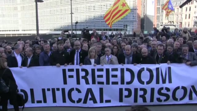 around 200 pro independence mayors from catalonia fly to brussels to hold a protest demanding the release of their region's political prisoners - capital region stock videos & royalty-free footage