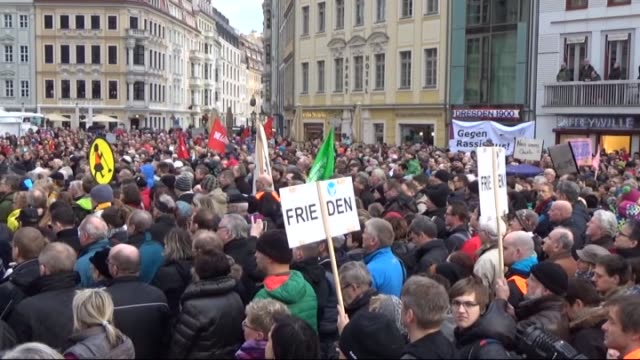 around 35000 people participate in a rally under the motto 'for dresden, for saxony - for cultural openness, humanity and dialogue in cooperation' in... - dresden frauenkirche stock videos & royalty-free footage