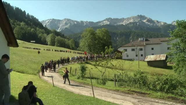 around 4000 people staged colourful and largely peaceful protests under a very heavy police presence on saturday on the eve of the g7 summit in... - garmisch partenkirchen stock videos & royalty-free footage