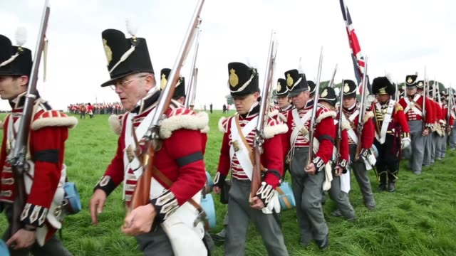 around 5000 historical reenactors will amass this evening to stage the 1st battle reenactment the 'french attack' in front of around 200000... - battle reenactment stock videos & royalty-free footage