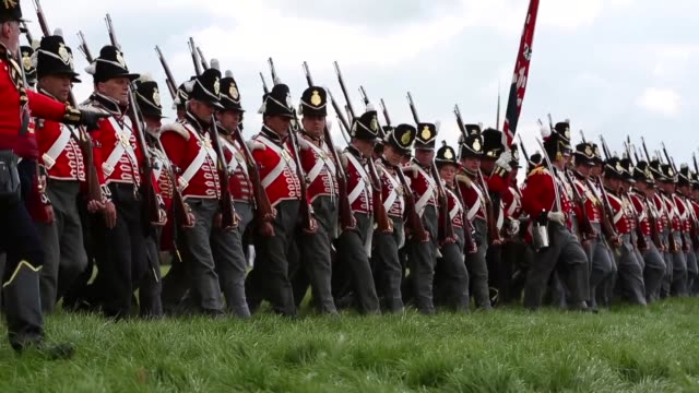 around 5000 historical reenactors will amass this evening to stage the 1st battle reenactment the 'french attack' in front of around 200000... - reenactment stock videos & royalty-free footage
