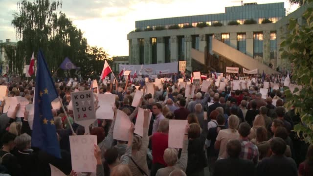 Around 5000 protesters rally at the Supreme Court's offices in central Warsaw in support of Chief Justice Malgorzata Gersdorf and several other...