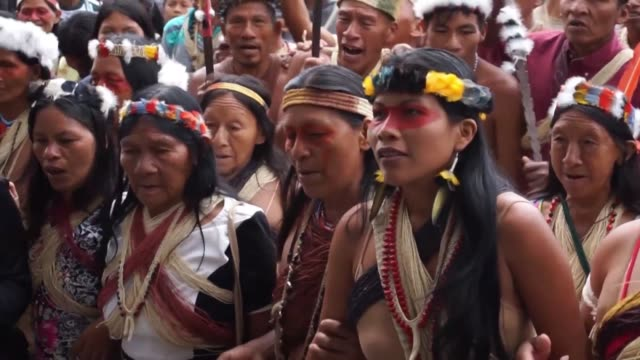 around 70 indigenous demonstrators chant and dance in front of ecuador's environment ministry to demand protection of the amazon forest - ecuador stock videos & royalty-free footage