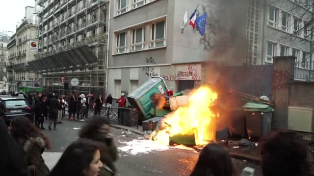 around a dozen paris schools were blocked on thursday as young protesters rallied to denounce police brutality after a young man was allegedly raped... - dozen stock videos & royalty-free footage
