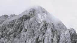 AERIAL Around a rugged mountain ridge