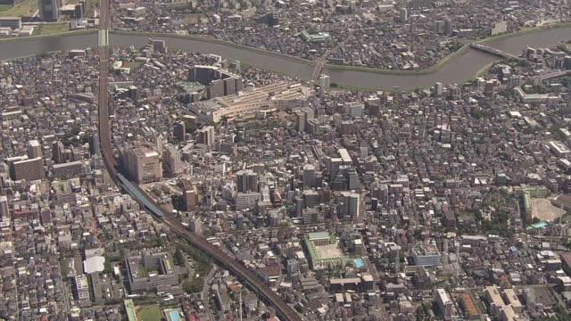 aerial, around kameari area, tokyo, japan - shitamachi stock videos and b-roll footage