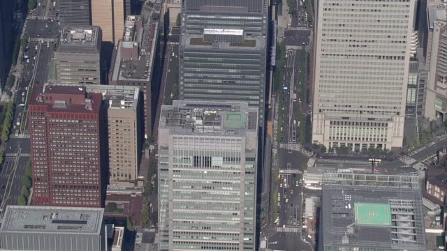 stockvideo's en b-roll-footage met aerial, around marunouchi and otemachi, tokyo, japan - financieel district