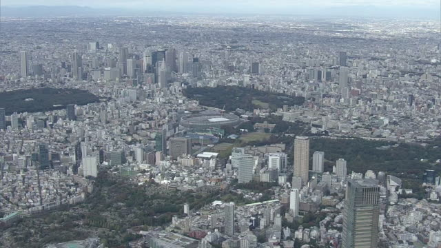 aerial, around national stadium, tokyo, japan - non urban scene stock videos & royalty-free footage