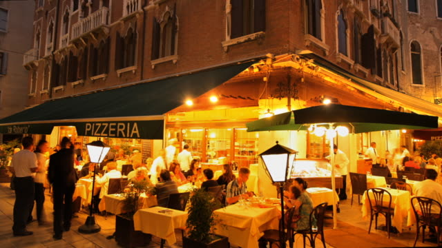 hyperlapse around pizzeria in campo san provolo - venice italy stock videos & royalty-free footage
