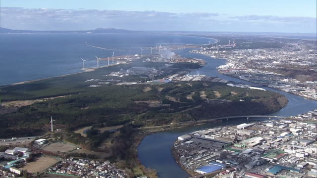 AERIAL, Around Port Of Akita, Japan