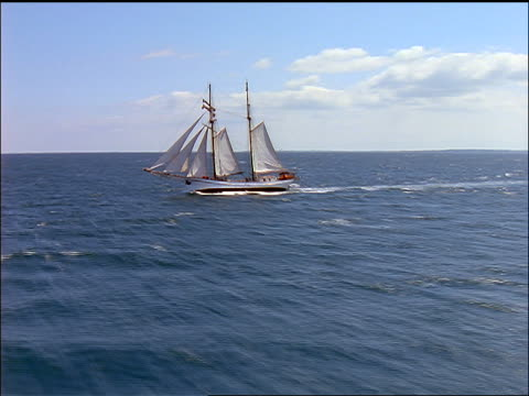 aerial around schooner sailing on ocean / aero, denmark - 1997 stock-videos und b-roll-filmmaterial