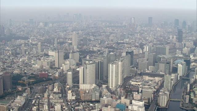 aerial, around shinagawa station, tokyo, japan - octagon stock videos & royalty-free footage