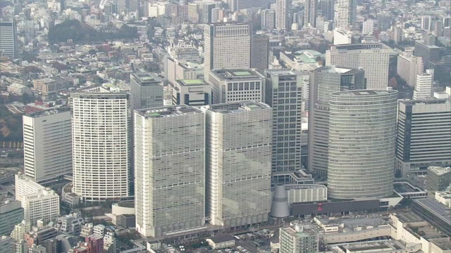 aerial, around shinagawa station, tokyo, japan - rectangle stock videos & royalty-free footage