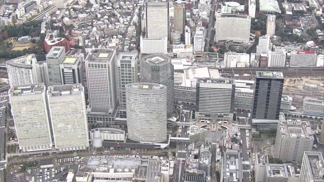 aerial, around shinagawa station, tokyo, japan - octagon stock videos and b-roll footage