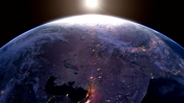 around the eearth in one minute. looping time lapse. - continente area geografica video stock e b–roll