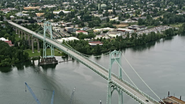 AERIAL Around the St. Johns Bridge in Portland, Oregon
