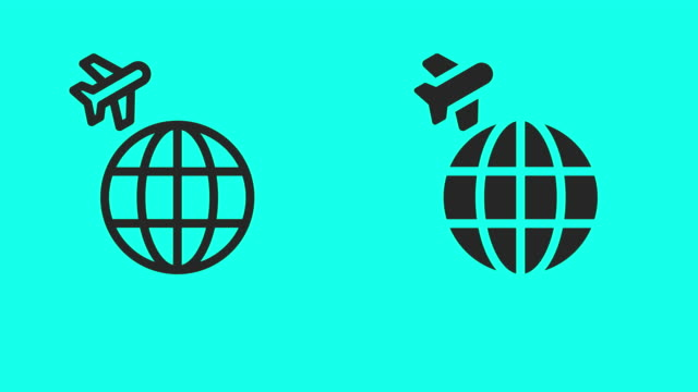 around the world icons - vector animate - global communications vector stock videos & royalty-free footage