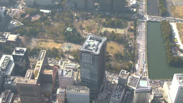 aerial, around tokyo midtown hibiya, japan - tokyo midtown stock videos and b-roll footage