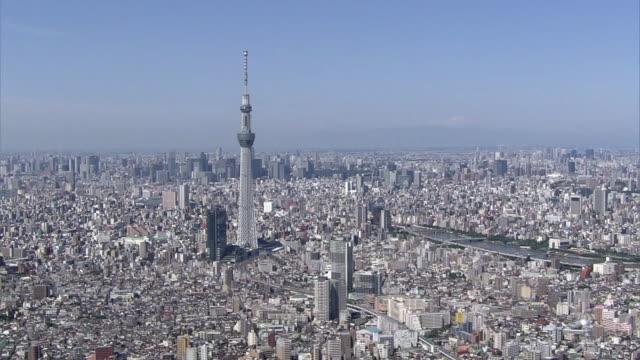 aerial, around tokyo skytree - スカイツリー点の映像素材/bロール