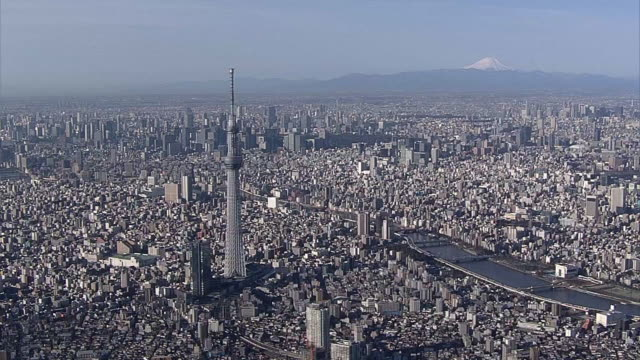 aerial, around tokyo skytree with mt fuji, japan - broadcasting stock videos & royalty-free footage