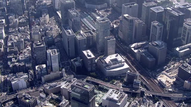 aerial, around tokyo station, tokyo, japan - marunouchi stock videos & royalty-free footage