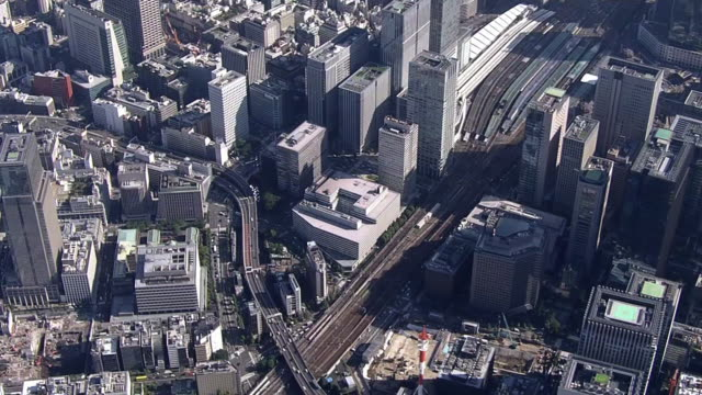 aerial, around tokyo station, tokyo, japan - inquadratura da un aereo video stock e b–roll