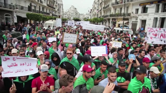 around two thousand students and teachers march in algiers on national student day against the country's ruling elite demanding the departure of... - president stock videos & royalty-free footage