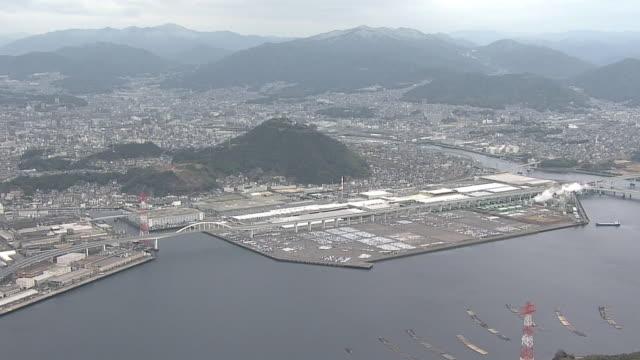 AERIAL, Around Ujina Plant Of Mazda Motor Corp., Hiroshima, Japan