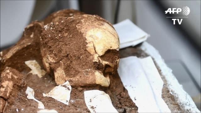 Arqueologos descubrieron un entierro de dos individuos de unos 2500 anos de antiguedad junto a vasijas de ceramica en un municipio del este de El...