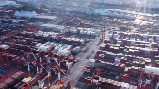 arranged containers in industrial harbor - container stock videos & royalty-free footage