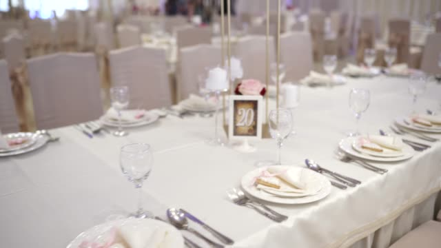 arranged table for wedding ceremony - entertainment building stock videos & royalty-free footage