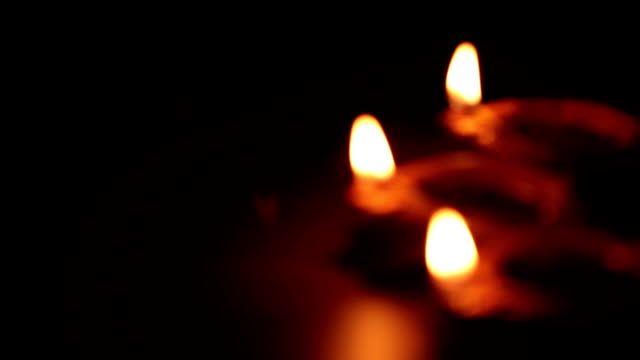 cu r/f arrangement of illuminated diyas during diwali festival - celebration stock videos & royalty-free footage