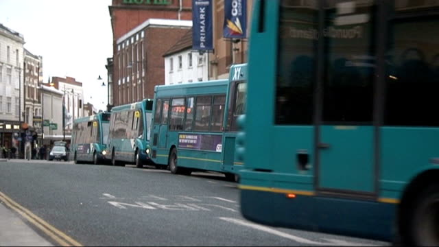 arriva faces court action over disability; t26031248 / darlington: bus along bus driver inside bus tilt down step of bus - darlington nordostengland stock-videos und b-roll-filmmaterial