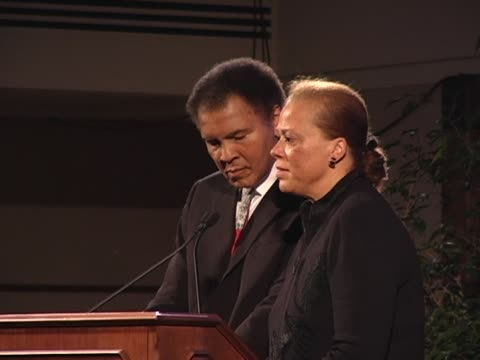 arrival and yolanda wife of muhammad ali speaks from the podium at the austrian embassy the common ground awards are presented annually to honor... - traditionally austrian stock videos & royalty-free footage