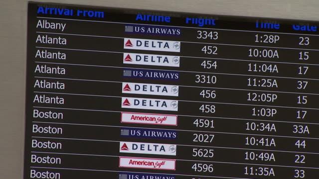 Arrival board at Ronald Reagan Washington National Airport / Arlington Virginia United States