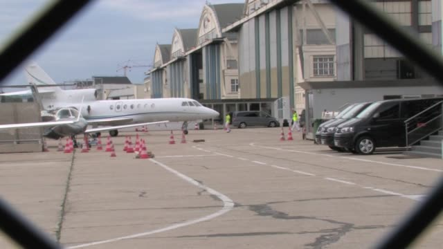 Arrival in Paris of Swedish Football superstar Zlatan Ibrahimovic at le Bourget airport They put the plane in the hangar and then he went to the...