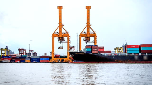 Ankunft Shipping Container Shipyard Zeitraffer