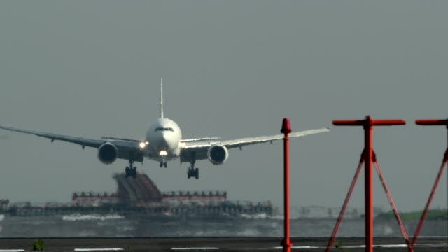 arrivaled airplane at international airport - landing touching down stock videos & royalty-free footage