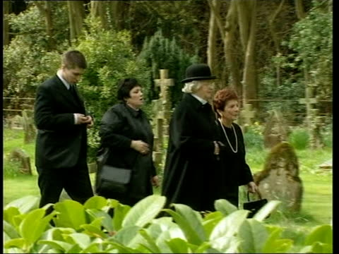 arrivals at funeral of sir harry secombe england surrey cranleigh ext gvs arrivals at funeral of sir harry secombe including bruce forsyth jimmy... - harry secombe stock videos and b-roll footage