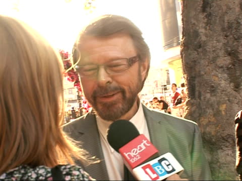 arrivals at 'mamma mia' film premiere bjã¶rn ulvaeus as interviewed - mamma mia stock videos and b-roll footage